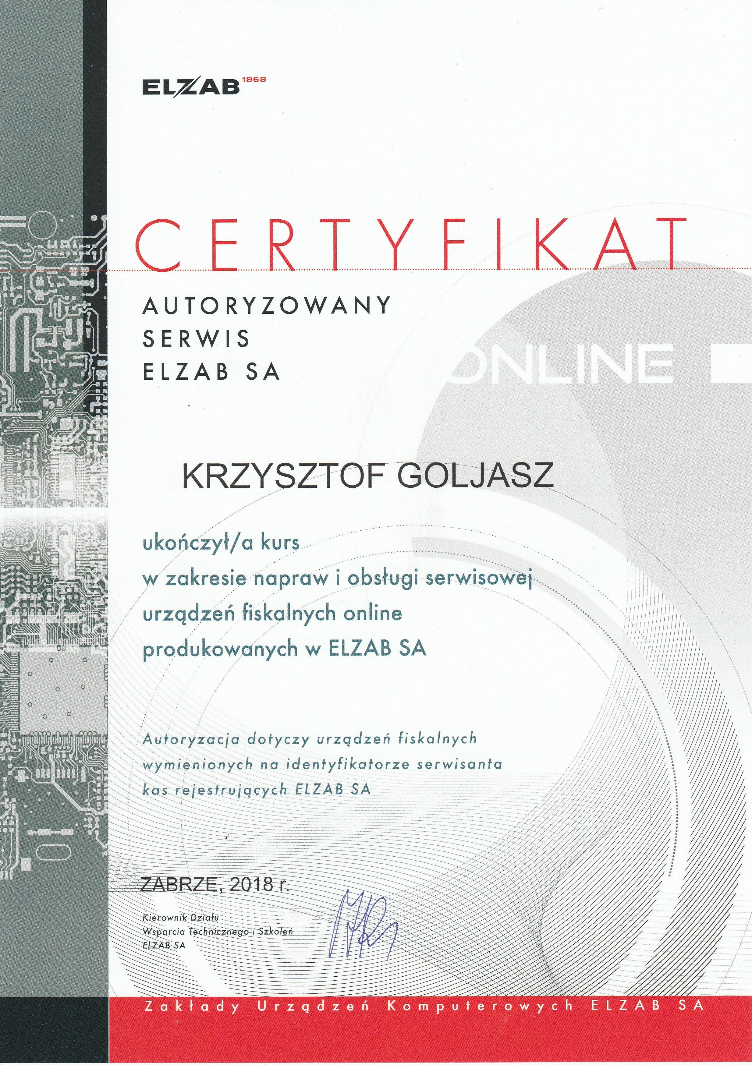 Certyfikat z szkolenia z kas online Elzab 2018 r.