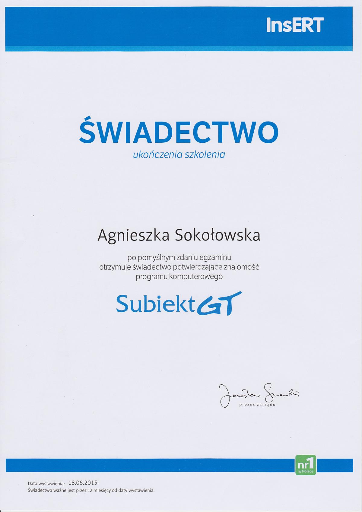 Dyplom Subiekt GT - Agnieszka Sokołowska