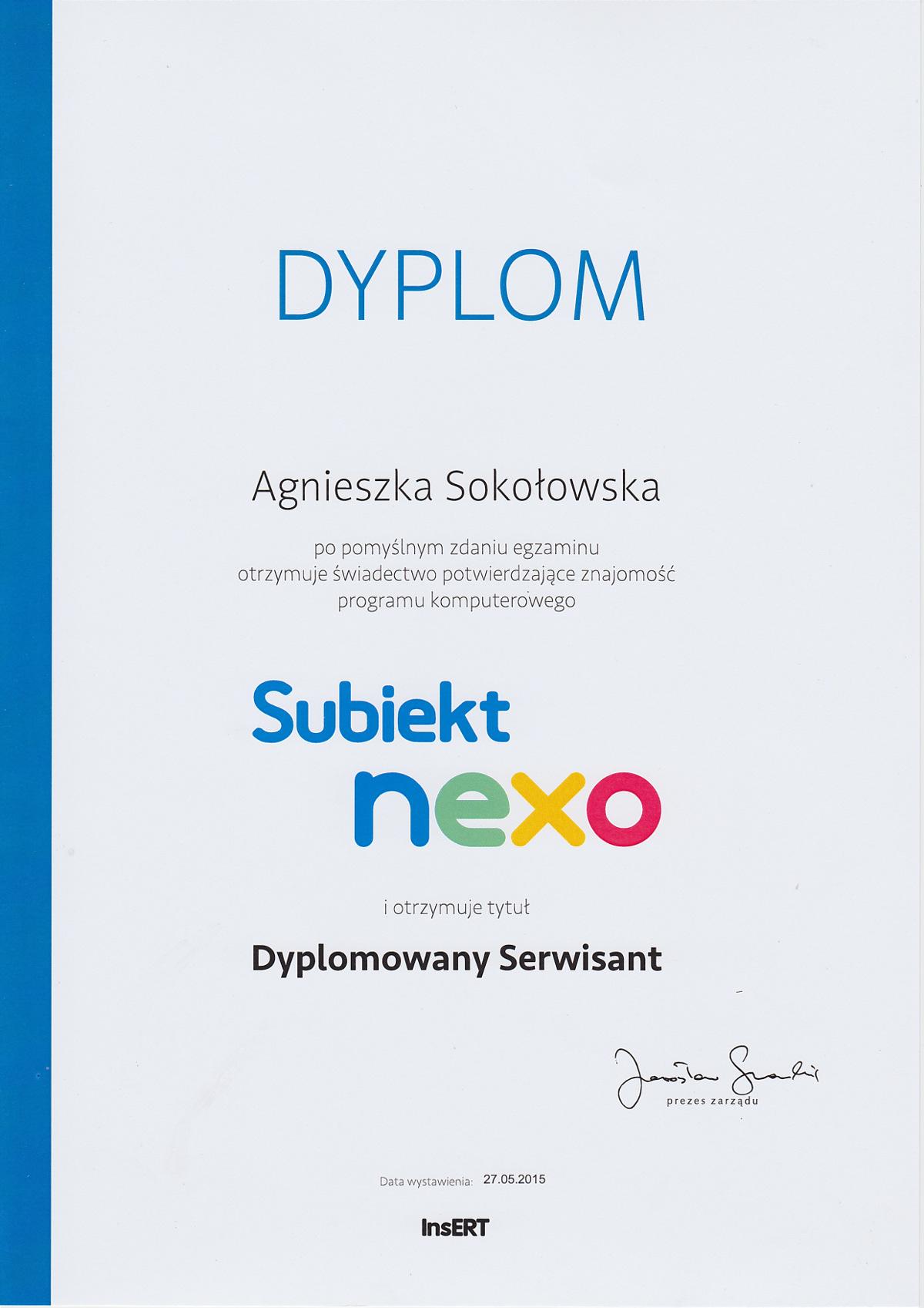 Dyplom Subiekt NEXO - Agnieszka Sokołowska