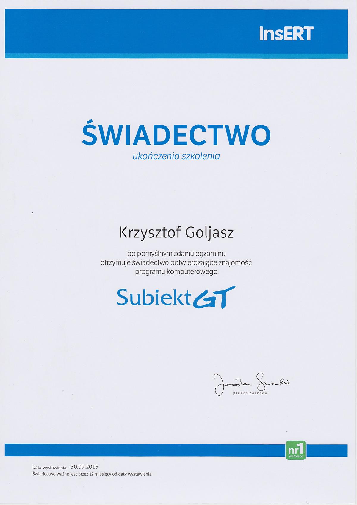 Dyplom Subiekt GT - Krzysztof Goljasz